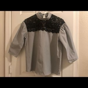 Zara blue with lace detail top in XS.